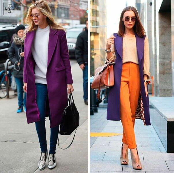 Ultra Violet en tu prenda exterior para combinar con tus básicos, un acierto