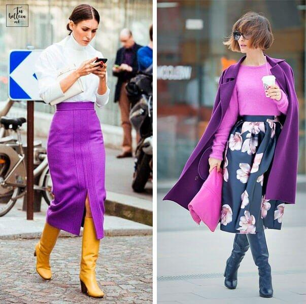 Looks de moda con ultra violet. Combinaciones con morado